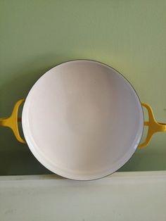 Dansk Kobenstyle Paella Yellow Pan France Round Enamel On Steel 1965 Vtg
