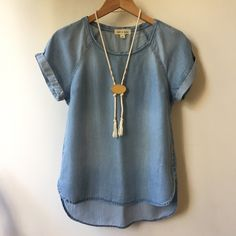 Shop Women's Anthropologie Blue size XS Blouses at a discounted price at Poshmark. Description: Beautifully soft shirt from Anthro's Cloth & Stone brand. The Chambray is super soft and drapes well. Slight hi-lo hem and sewn cuffed sleeves make this simple piece special. Excellent condition, no signs of wear. From a non-smoking, pet-free home.. Sold by laurentrish. Fast delivery, full service customer support.