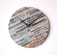 Newspaper Wall Clock  Paper Clock  Upcycled by NaturalClocks