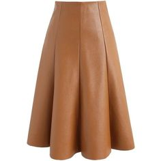 Chicwish Modern Essential Faux Leather A-line Skirt in Camel ($45) ❤ liked on Polyvore featuring skirts, gonne, brown, brown faux leather skirt, camel a line skirt, knee length a line skirt, camel skirts and brown skirt