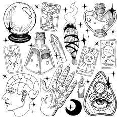 Fortune Teller Starter Pack Black and White Throw Pillow by Corinne Elyse - Cover x with pillow insert - Indoor Pillow Tattoo Flash Sheet, Tattoo Flash Art, Body Art Tattoos, Tattoo Drawings, Arabic Tattoos, Black And White Stickers, Witch Tattoo, Dragon Sleeve Tattoos, Japanese Dragon Tattoos