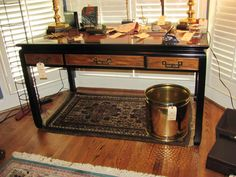 Ming Desk and Brass Trash Can