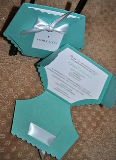 Baby Shower Invitations Turquoise Blue Elegant by PunkyPosh, $2.50