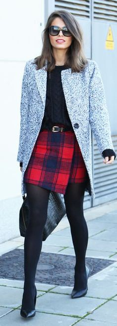Navy And Red Tartan Wrap Mini Skirt, fashion, heels