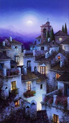 Luis Romero, Spanish painter was born in Ronda, Málaga, Spain. Romero is successful participated in many international exhibitions. Beautiful Paintings, Beautiful Landscapes, Spanish Painters, Naive Art, Beauty Art, Landscape Art, Landscape Posters, Painting Techniques, Home Art