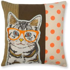 "Madura Wise Cat Decorative Pillow Cover, 16"" x 16"" ($70) ❤ liked on Polyvore featuring home, home decor, throw pillows, animals, cushion, multicolored, colorful throw pillows, colorful home decor, animal throw pillows and embroidered throw pillows"