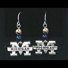 MICHIGAN Beaded Wire Logo Earring