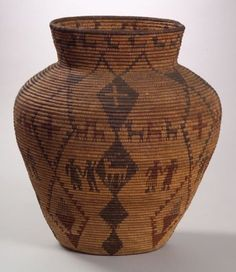 Southwest Polychrome Pictorial Basketry Olla, Apache, c. 1900, with high shoulder, flared rim, decorated with eight two-color sets of human forms, two rows of animals, and vertical stacked diamonds, (minor stitch loss), ht. 18 1/2, dia. 15 1/2 txwqq-5/13/06 Native American Design, Native American Pottery, Native American Fashion, Native American Baskets, Native American Indians, Modern Baskets, Indian Baskets, Weaving Art, Ancient Artifacts