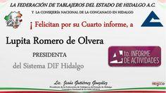 Felicidades Lupita Romero de Olvera Presidenta del Sistema DIF Hidalgo