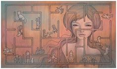 http://www.pondly.com/2012/03/audrey-kawasakis-one-of-a-kind-wood-panel-paintings/