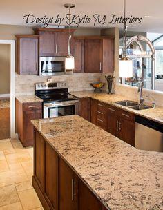 Dark Maple Kitchen Cabinets with Granite Countertops