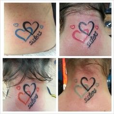 """sister heart tattoos. Smaller and without the words """"sisters"""" just in two different colors tha represent us."""