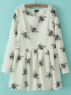 White Long Sleeve Bee Fox Print Pleated Dress pictures - @Leah Denison