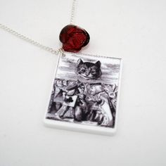 SALE Cheshire Cat Necklace Tenniel Illustration by LaurasJewellery, £6.00
