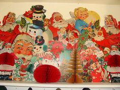 Vintage Christmas die cut collection. #christmas #vintage #retro #kitsch #decor #santa #snowman #angel