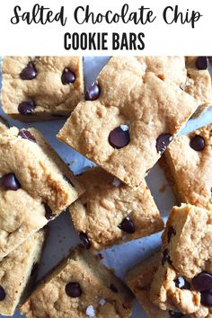 These no-chill cookie bars are an addictively sweet, slightly healthier version of your childhood favourite and they're super easy to make. Buttery, chewy, salty sweet and all baked in one pan. What's not to love? #cookiebars #chocolatechipcookies #easyrecipe #darkchocolate #homemade #fromscratch #baking #dessert