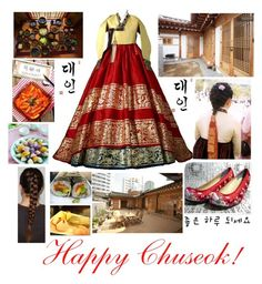 """Happy Chuseok!!"" by vangafang ❤ liked on Polyvore featuring beauty, Say What?, hanbok and Happychuseok"