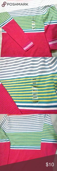 "New Izod Striped Cotton Sweater In a size medium (label attached see second photo) from Izod, new unworn. Garment is 100% lightweight cotton knit,  and measures 18"" across bust unstretched, and 24"" shoulder-hem. See last photo - note thin orange strips on pink ground. Cute to pair with white shorts or slacks. Izod  Sweaters Crew & Scoop Necks"