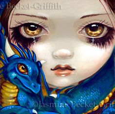 Faces of Faery: goth blue dragonling big eye fairy face art print by Strangeling, $13.99