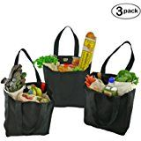 Simple Ecology Organic Cotton Deluxe Reusable Grocery Bag with Bottle Sleeves - Black (3 Pack)