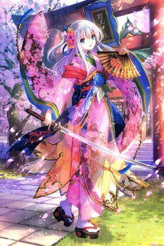 anime artwork - girl with kimono and sword - cherry blossoms