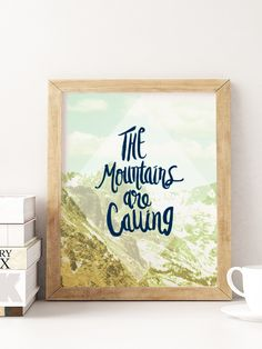 This adventurous art print is perfect for anyone who longs to be in the mountains. Nature lover and cabin artwork. Road Trip To Colorado, Red Rock Amphitheatre, Mountain Art, The Mountains Are Calling, Shadow Box Frames, Chalkboard Art, Cabins In The Woods, So Little Time, Cool Gifts