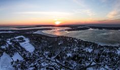 Dering Harbor Co. Shelter Island Aerial Photograph - February Heights Sunset