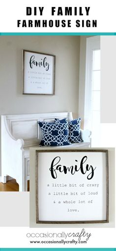 Family Farmhouse Sign + Free Studio Cut File!  Wall Art, Entryway, Home Decor