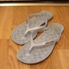 Coach sandals size 6 Good used condition. Please look at pictures for condition. Light wear inside and out. Smoke free home. Shoes only. Thank you. Coach Shoes Sandals