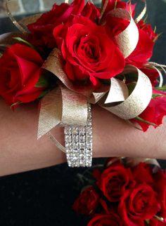 Red Spray Rose Wrist Corsage & Boutonniere Glitter, Bling, Rhinestones, Gold, Silver  http://www.pristinefloraldesign.com/  https://www.facebook.com/PristineFloralDesign