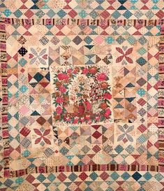 large patchwork quilt, possibly a marriage quilt, the cotton border printed with scrolling acanthus leaves and shells, the central field w. Old Quilts, Antique Quilts, Vintage Quilts, American Quilt, Sampler Quilts, Art Textile, Quilt Stitching, Quilting Projects, Textiles