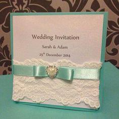 Tiffany Blue Wedding Invitation by ParticularlyLovely on Etsy, £3.50