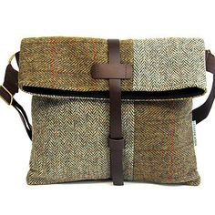 FREYA MESSENGER GREENS- Catherine Aitken More - Sale! Shop at Stylizio for womens and mens designer handbags luxury sunglasses watches jewelry purses wallets clothes underwear Diy Bags Jeans, My Bags, Purses And Bags, Leather Craft, Leather Bag, Harris Tweed, Fabric Bags, Handmade Bags, Beautiful Bags