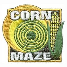 Corn, Maze, Halloween, Field, Cob, Patch, Embroidered Patch, Merit Badge, Badge, Emblem, Iron-On, Iron On, Crest, Lapel Pin, Insignia, Girl Scouts, Boy Scouts, Girl Guides