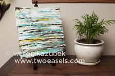 """A new abstract painting. 12""""x12"""" small teal and brown art piece. $100.00"""