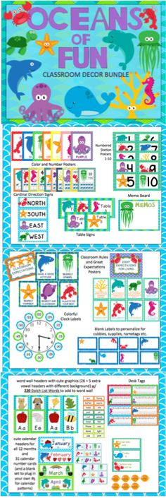 This is 117-page bundle includes everything you need to get your ocean-themed classroom decorated. It includes word wall materials, number posters, color posters, table signs, station signs, calendar materials, memo board, desk tags, and more!