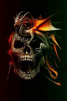 Chinese Dragons and Skulls Air Brushed | Skulls And Dragons Wallpapers Screenshots dragon skull live
