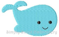 Whale 2 Machine Embroidery Design Mini by SimplySweetEmbroider