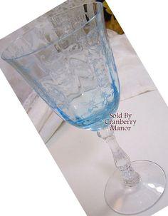 #Fostoria #Glass, Claret Wine Glass, Blue #Navarre On #Wilma, Etched Shabby Home Decor, Vintage American Chic #Designer Elegant Glassware