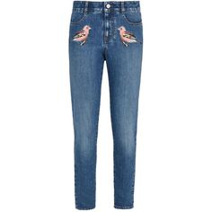 Stella Mccartney High Waist Skinny Bird Embroidered Jeans ($485) ❤ liked on Polyvore featuring jeans, classic blue, high waisted jeans, skinny jeans, straight leg jeans, high-waisted jeans and skinny fit jeans