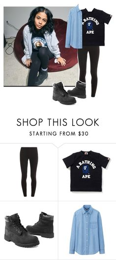 """""""B A P E"""" by dope-goddess ❤ liked on Polyvore featuring Splendid, A BATHING APE, Timberland and Uniqlo"""