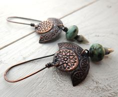 Etched Fan Earrings  etched copper with by LostSparrowJewelry
