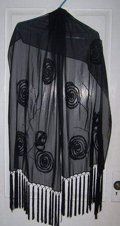 Beautiful Vintage Sheer  Black Wrap Shawl  With by ATokenOfLove, $59.99