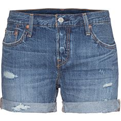 LEVI`S 501 CT Short Blue // Destroyed denim shorts ($77) ❤ liked on Polyvore featuring shorts, cotton shorts, summer shorts, distressed jean shorts, destroyed denim shorts and ripped jean shorts