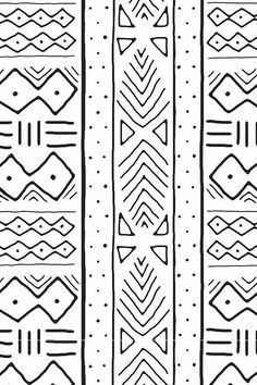 Fabric By The Yard Mudcloth In Black On White Fabric By The Yard Mudcloth In Black On White Mudcloth In Black On White By Domesticate Based On Traditional African Mudcloth Black And White Tribal Line Drawing On Fabric Wallpaper And Gift Wrap Art Tribal, Tribal Prints, Print Wallpaper, Fabric Wallpaper, Tribal Pattern Wallpaper, Drawing Wallpaper, African Mud Cloth, African Fabric, Pattern Art