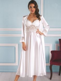 aff59b8993 ... you wear this cozy and stylish set. Pierre Cardin 4370 Satin Chemise  Robe Set details