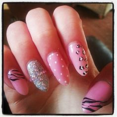 Nails too ling but otherwise cute acrylic pink silver