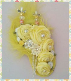 Wedding Corsage Yellow Brooch Pin Prom by Ladydarinefinecrafts