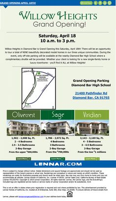 Brokers Welcome!!!  Willow Heights In Diamond Bar Grand Opening This Saturday, April 18th!  http://www.lennar.com/New-Homes/California/Los-Angeles/Diamond-Bar/Willow-Heights