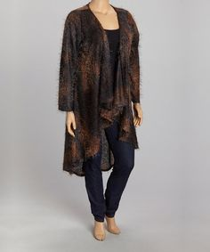 Take a look at this Black & Brown Abstract Open Cardigan - Plus by Jewel Tones: Plus-Size Apparel on @zulily today!